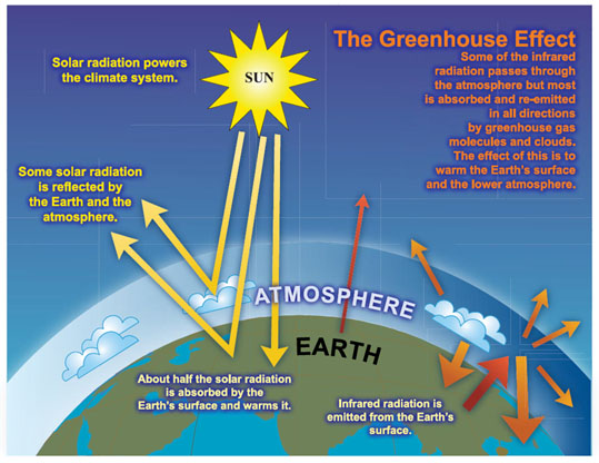 Greenhouse gases allow sunlight